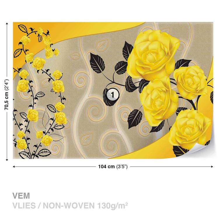 Fotomural Rosas Flores Amarillas Resumen
