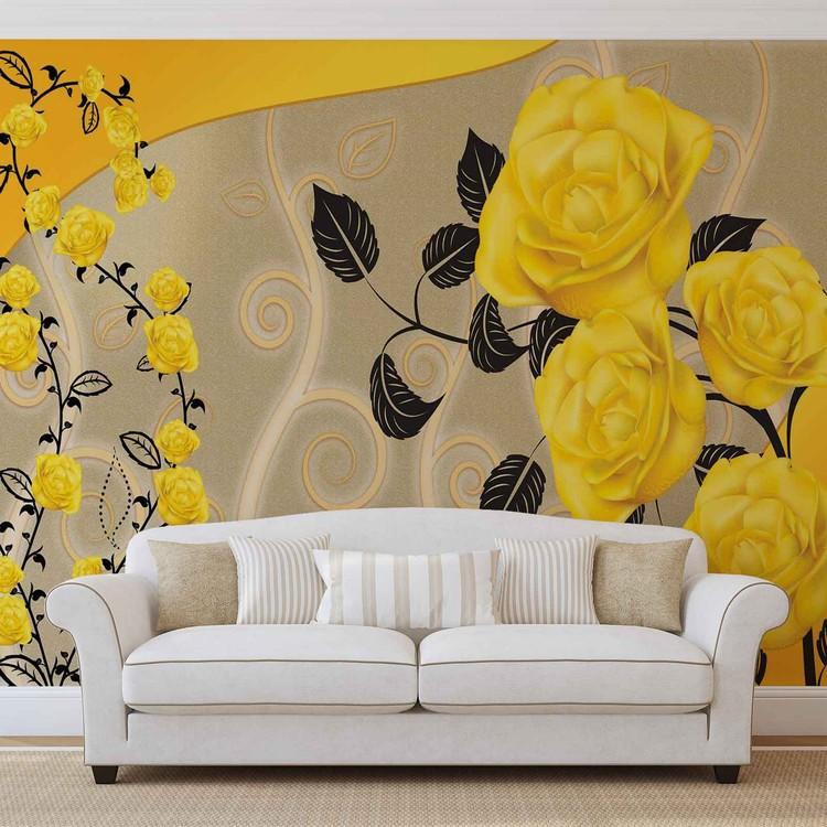 Fotomurale Rosas Flores Amarillas Resumen