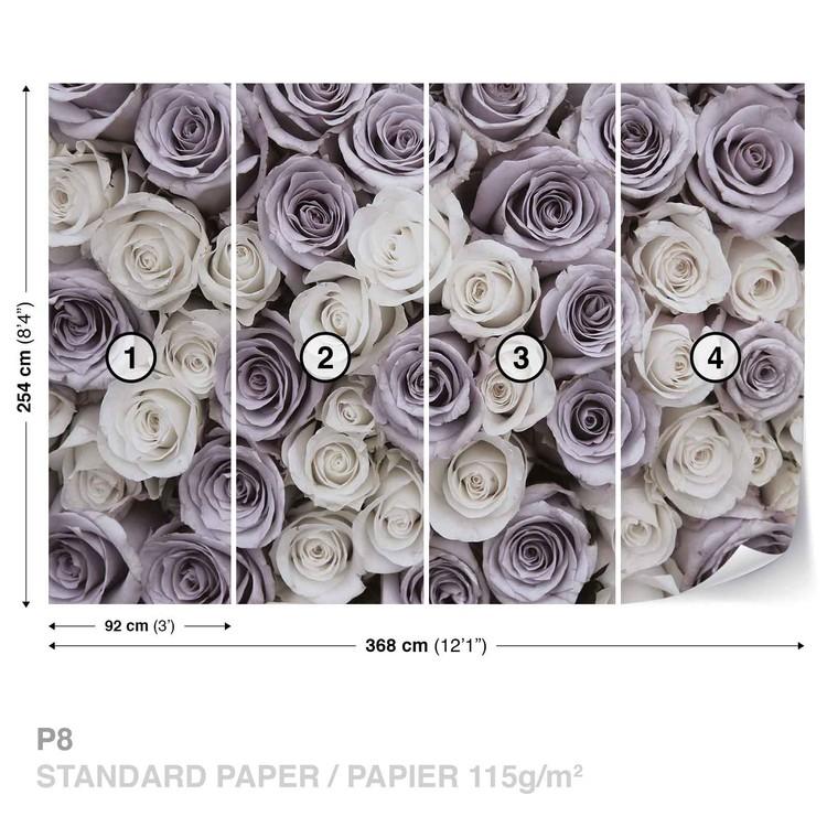 Fotomural Rosas Flores Blanco Púrpura
