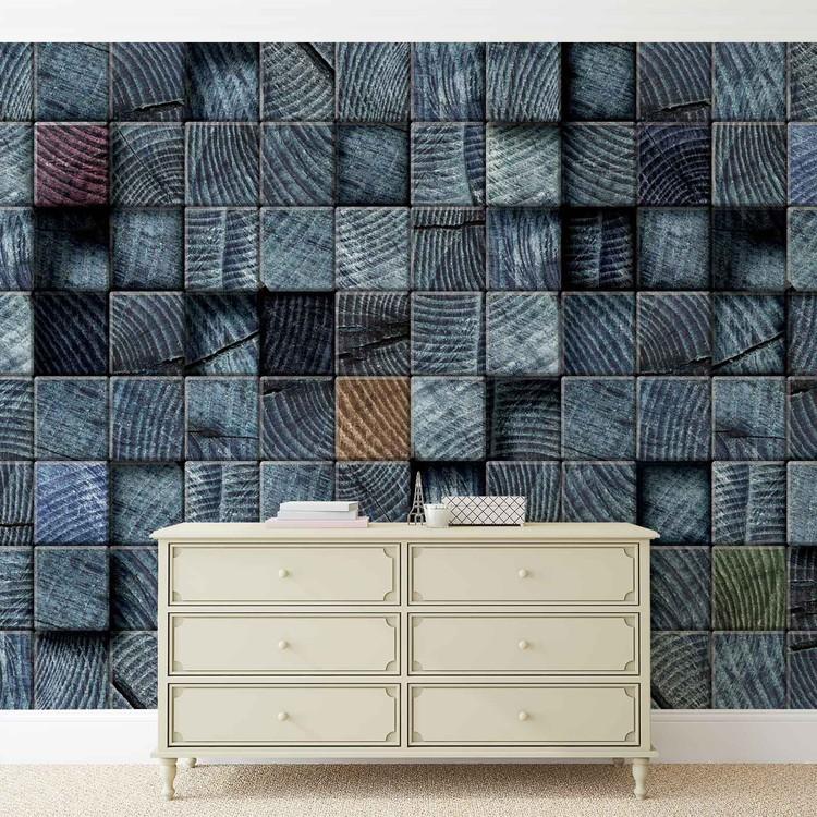 Fotomural Textura de bloques de madera gris oscuro