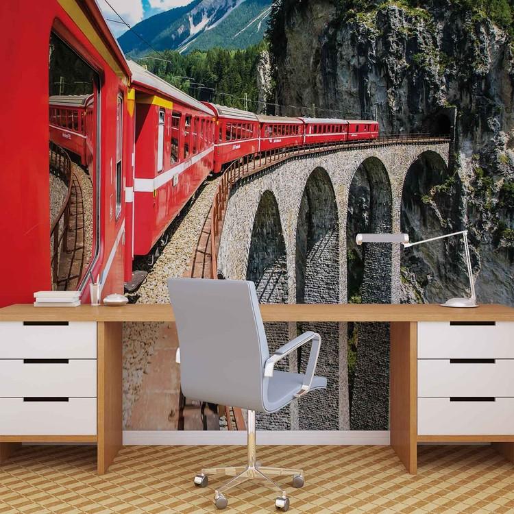 Fotomural  Tren a traves de las montañas