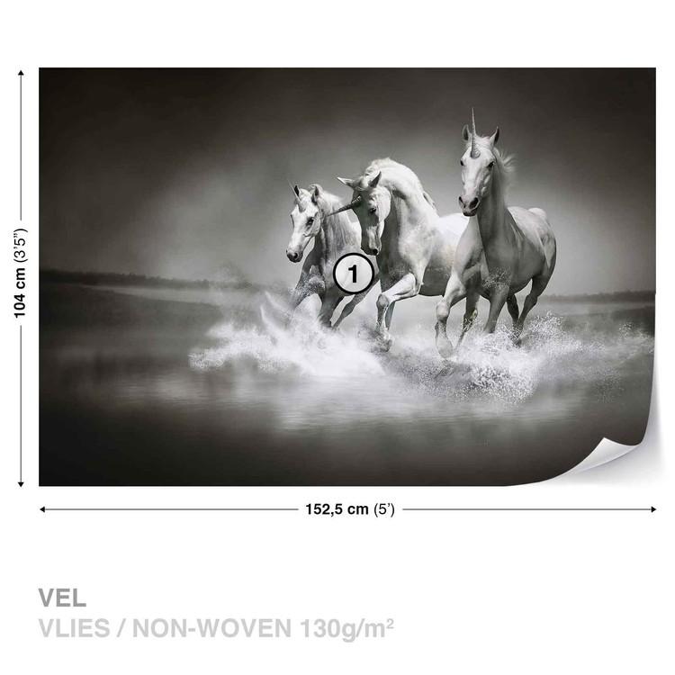 Fotomural Unicornios Caballos Negro Blanco Papel Pintado