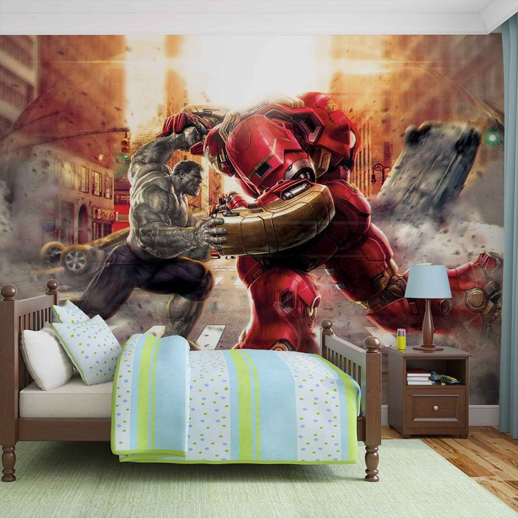 Fotomural  Vengadores Marvel aliados luchando