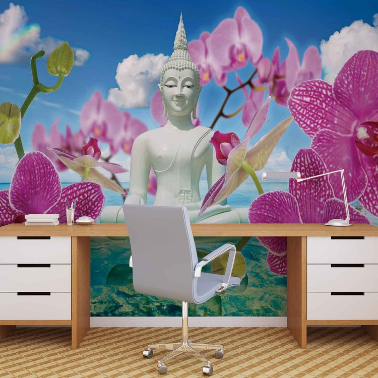 Fotomural  Zen Flores Orquideas Buda Agua Cielo