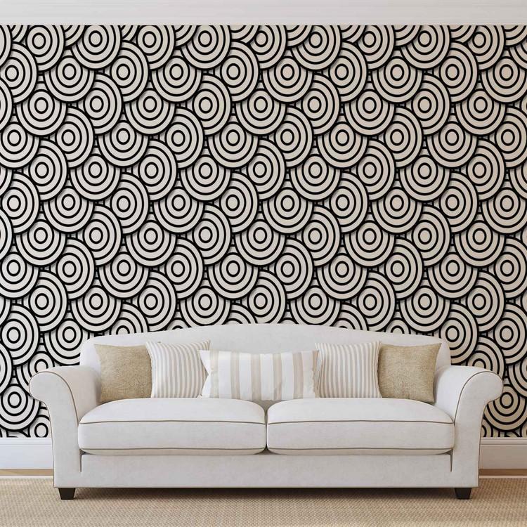 Abstract Modern Circle  Black White Fototapet