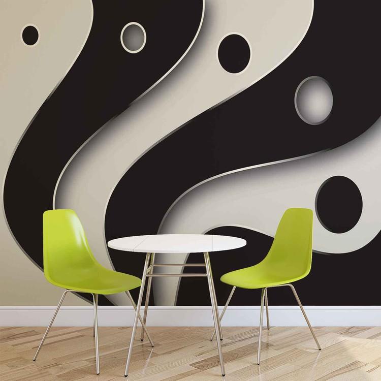 Abstract Modern Pattern Black White Fototapet