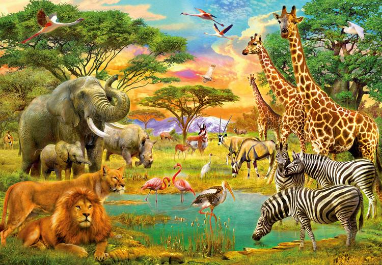Afrikanska djur Fototapet