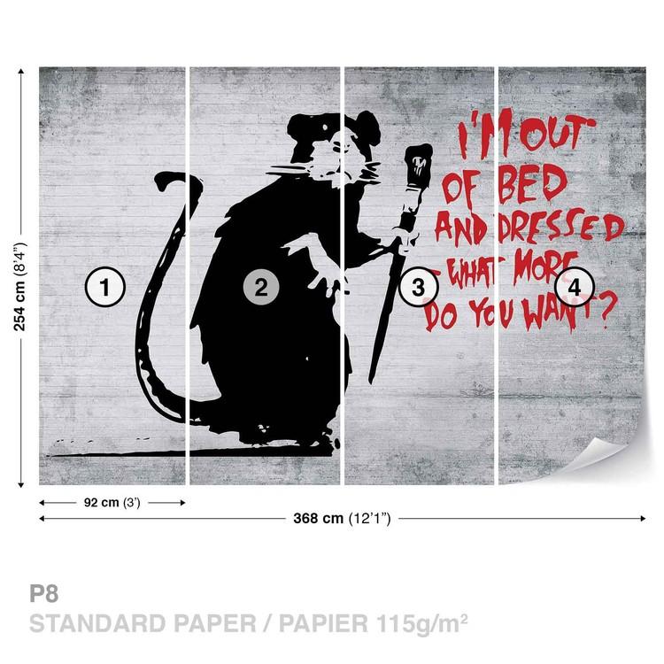 Banksy Graffiti Rat Concrete Wall Fototapet