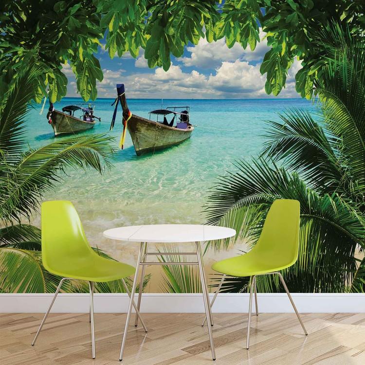 Beach Tropical Paradise Boat Fototapet