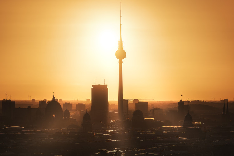 Berlin - Skyline Sunrise Fototapet