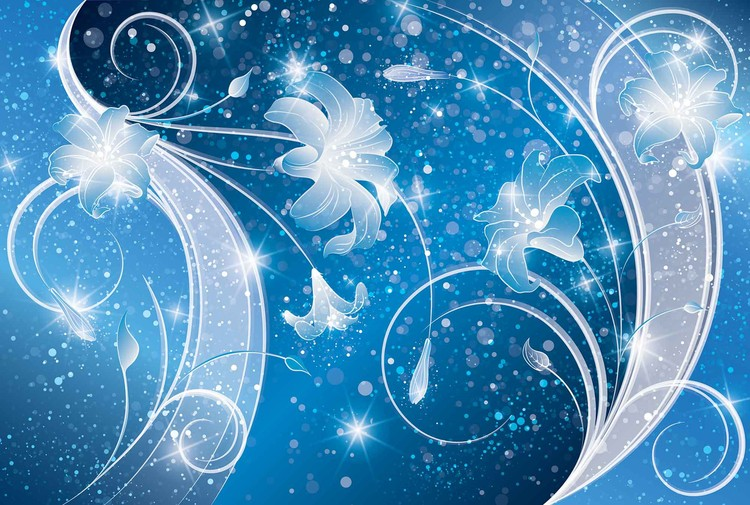 Blue Silver Floral Abstract Fototapet