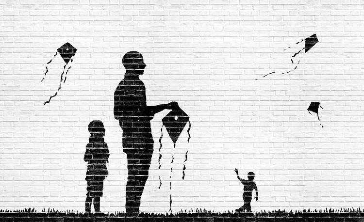 Brick Wall Kites Kids Black White Fototapet