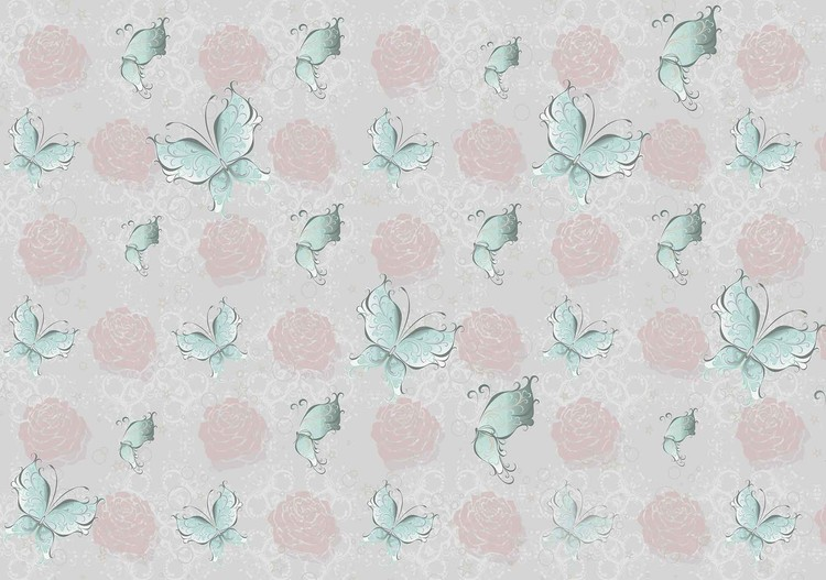 Butterlies and Roses Pattern Fototapet