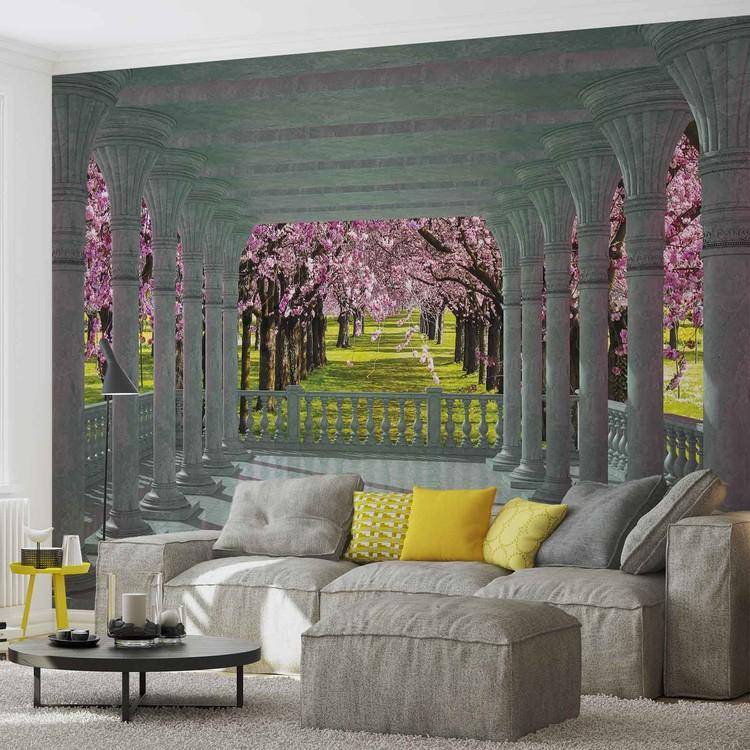 Cherry Trees through The Arches Fototapet