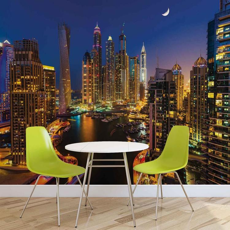 City Dubai Skyscraper Night Fototapet