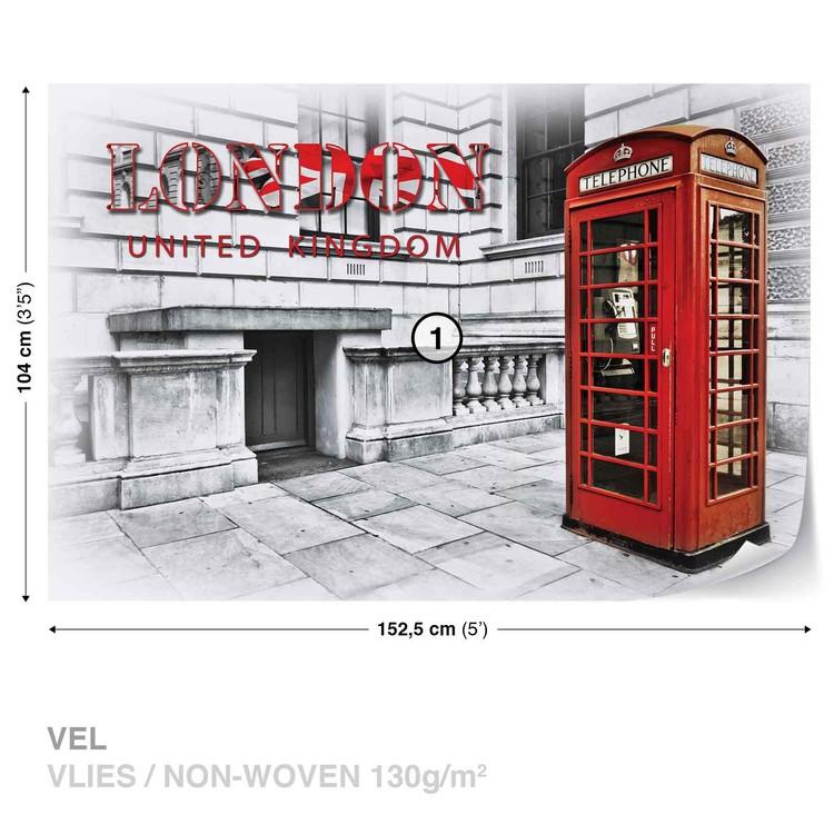 City London Telephone Box Red Fototapet