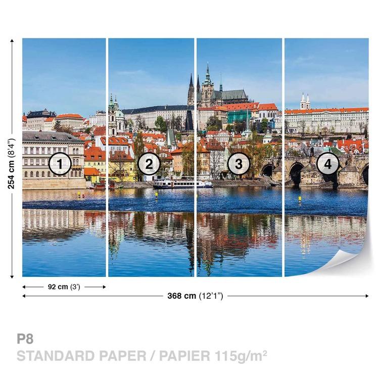 City Prague Bridge River Cathedral Fototapet