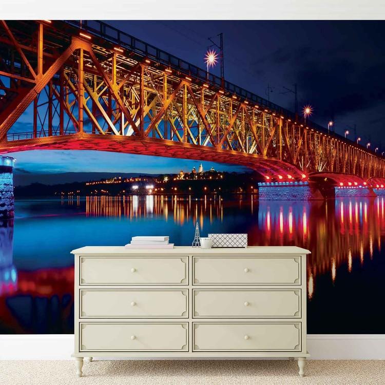 City Skyline Bridge Reflection Night Fototapet
