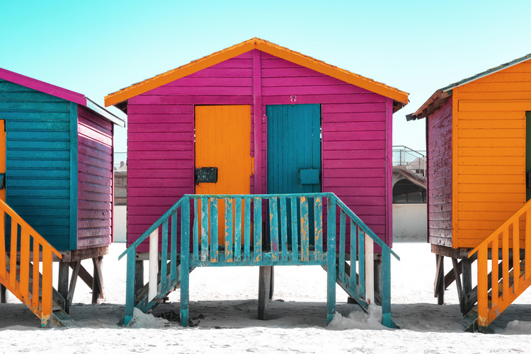 Colorful Houses Seven Rasberry Fototapet