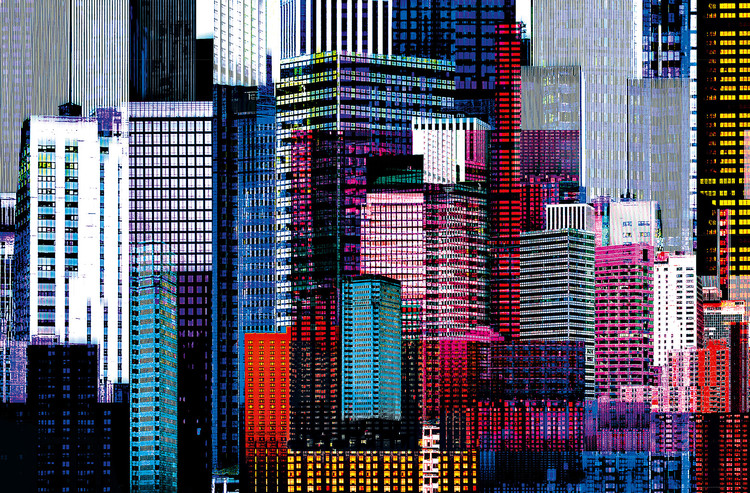COLOURFUL SKYSCRAPERS Fototapet