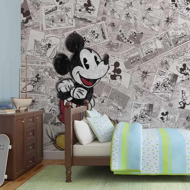 Disney Mickey Mouse Newsprint Vintage Fototapet