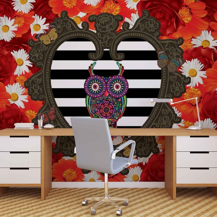 Floral Heart Owl Red Fototapet