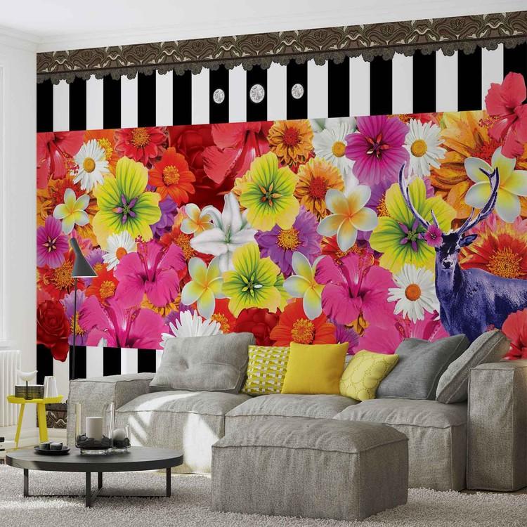 Floral Stripes Fototapet