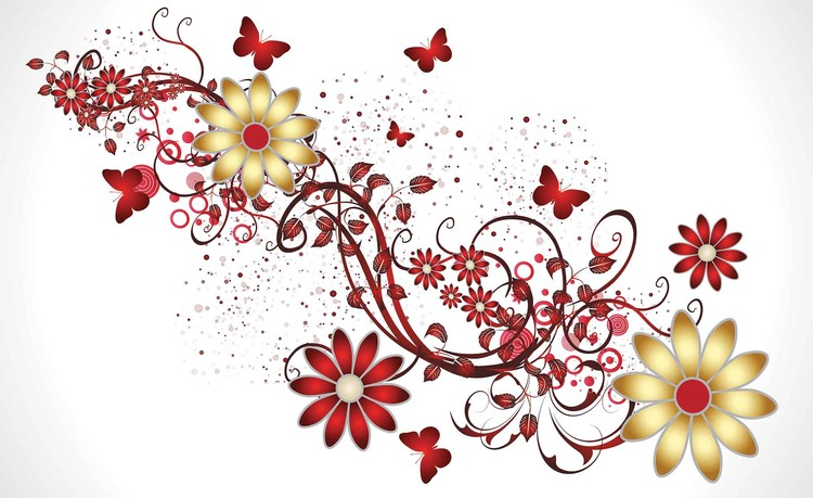 Flowers Butterflies Pattern Red Fototapet
