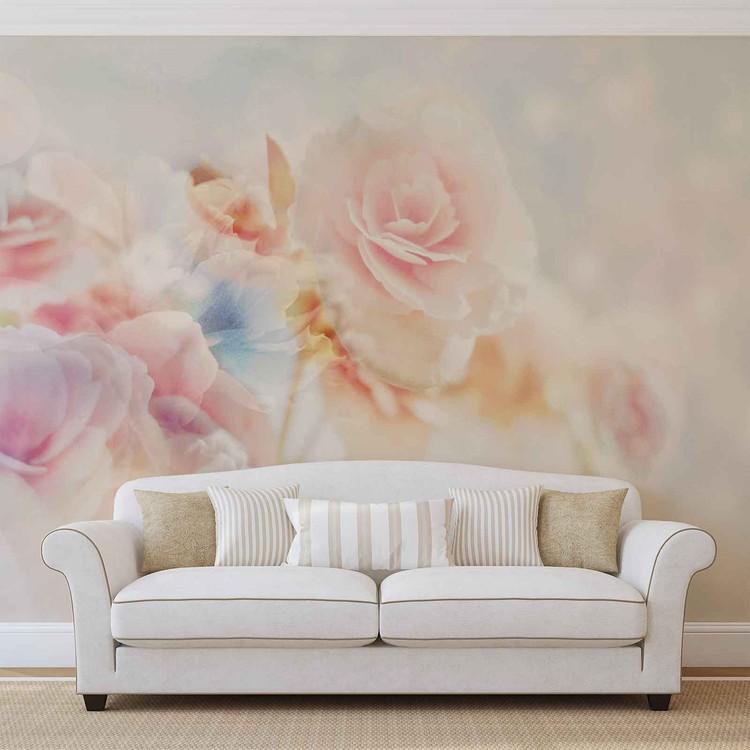 Flowers Pastel Colours Fototapet