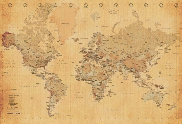 Harta Antica a Lumii Fototapet