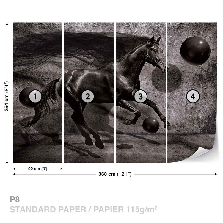 Horse Spheres Black 3D Fototapet