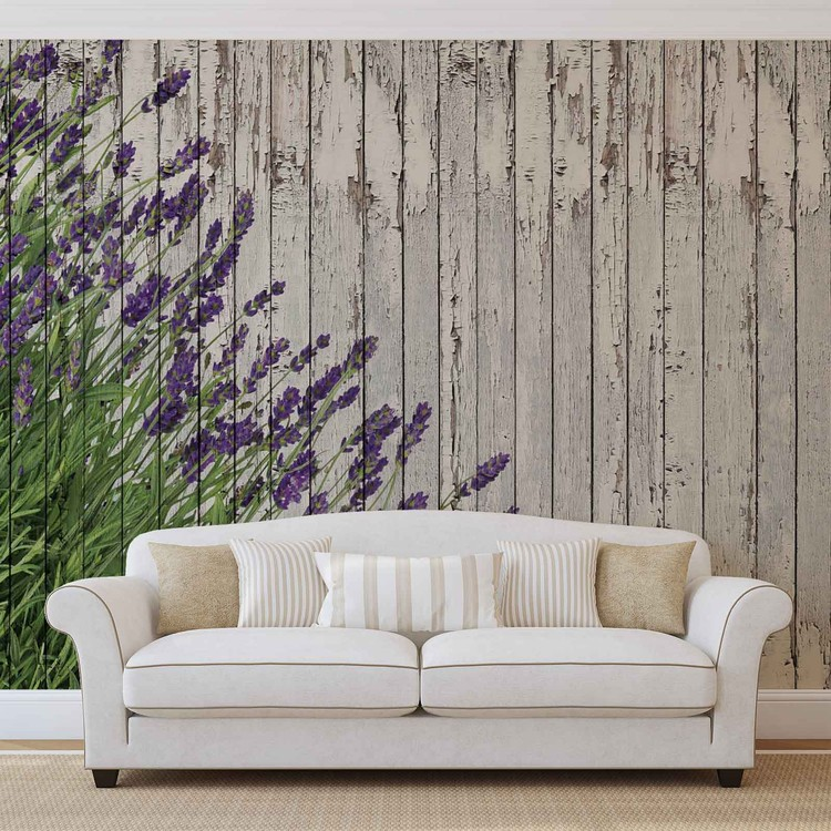 Lavendar Wood Planks Fototapet
