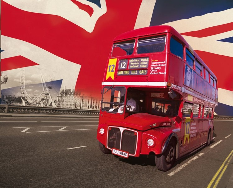 London - röda bussen Fototapet