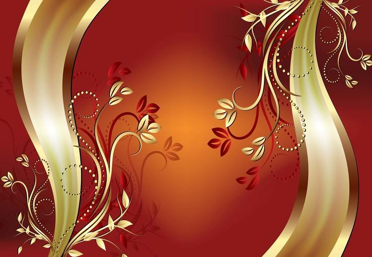 Luxury Ornamental Floral Design Orange Fototapet