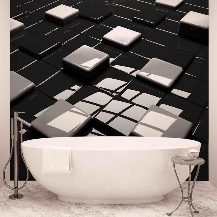 Modern Abstract Squares Black White Fototapet