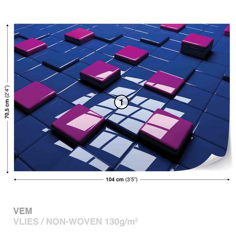 Modern Abstract Squares Blue Purple Fototapet