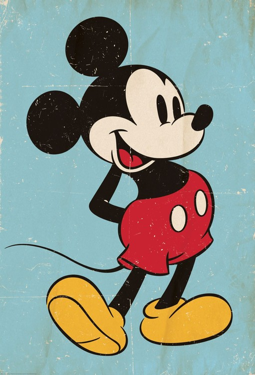 Musse Pigg (Mickey Mouse) - Retro Fototapet