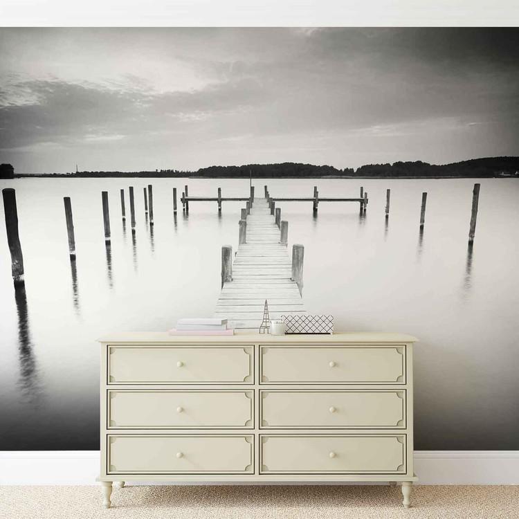 Nature Water Lake Jetty Black White Fototapet
