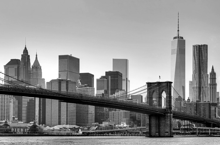 New York - Brooklyn Bridge (B&W) Fototapet