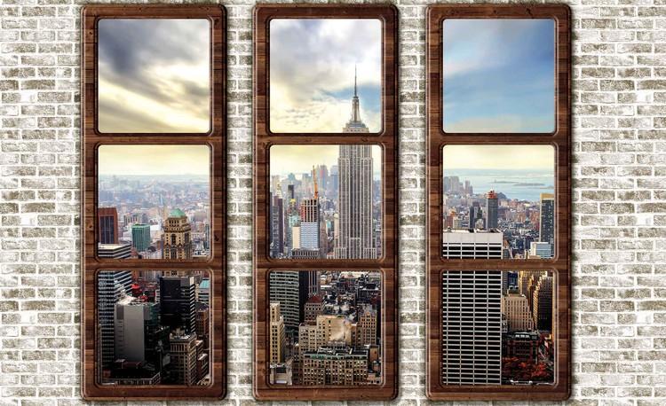 New York City Skyline Window View Fototapet
