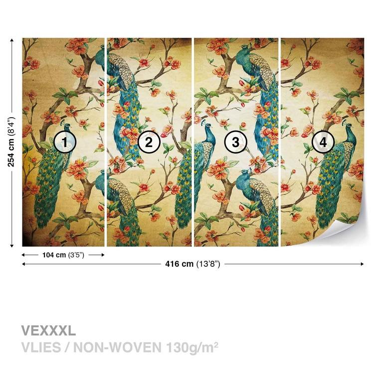 Pattern Peacocks Flowers Vintage Fototapet