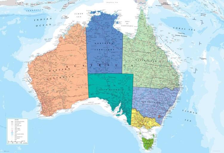 Politisk karta över Australien Fototapet