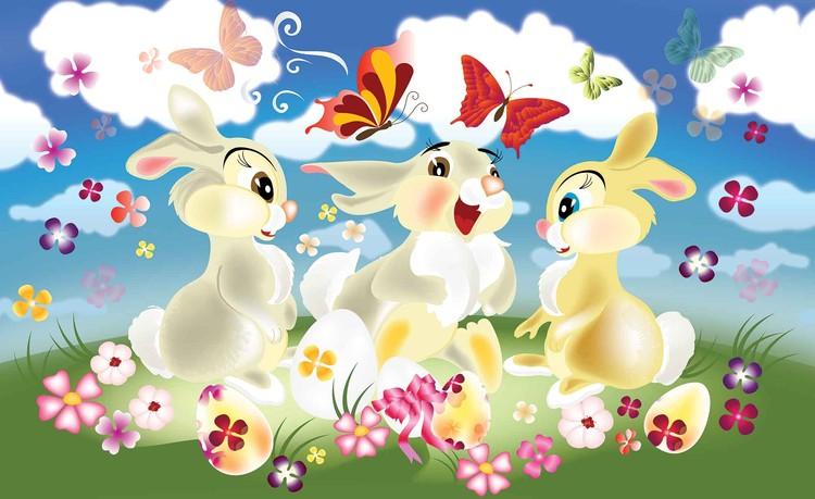 Rabbit Bunny Butterflies Flowers Fototapet