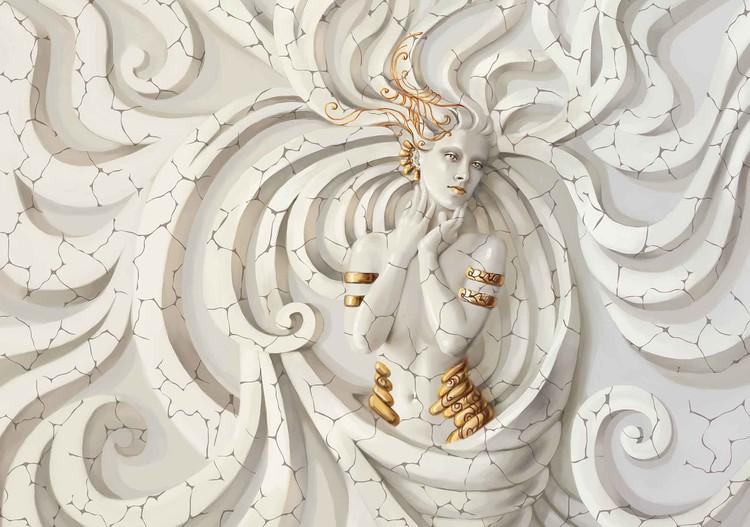Sculpture Yoga Woman Swirls Medussa Fototapet