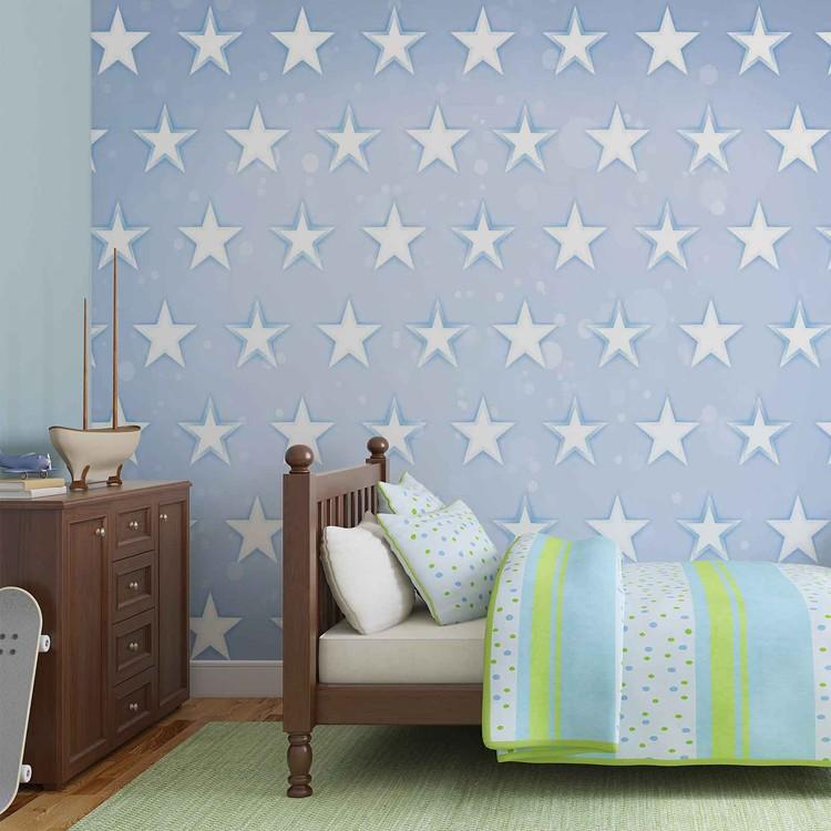 Stars Pattern Blue Fototapet