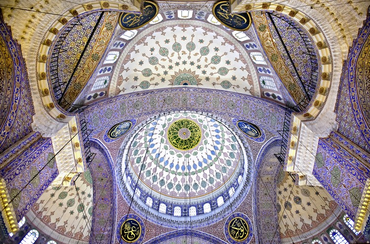 "The Blue Mosque a€"" The Sultan Ahmed Mosque. Columns and Main Domes. Istanbul. Turkey A© Nora de Ang Fototapet"