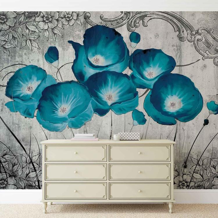 Vintage Flowers Blue Grey Fototapet