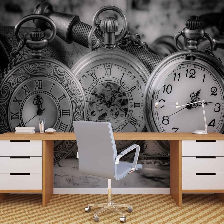 Watches Clocks Black White Fototapet