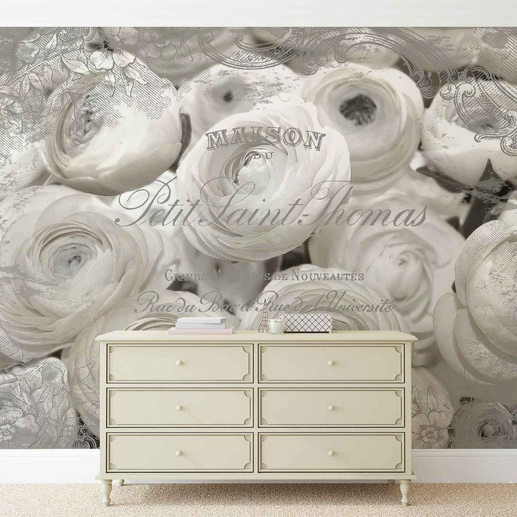 White Roses Vintage Effect Fototapet