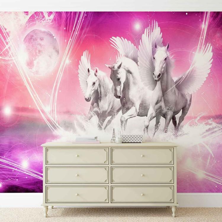 Winged Horse Pegasus Pink Fototapet